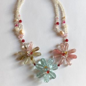 JCREW Beaded Flower Statement Necklace
